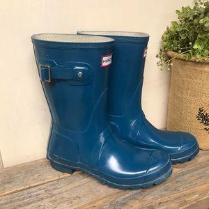 Hunter Original Gloss Short Boots Teal Blue 7